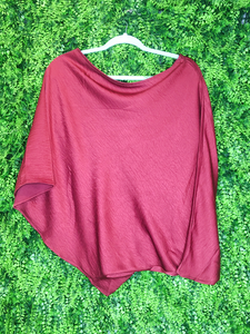 red one shoulder top shirt blouse | fall winter holiday fashion | shop women's clothing clothes apparel gifts accessories jewelry online or in store at boerne la te da boutique | a favorite of locals and san antonio visitors too | best boerne boutiques