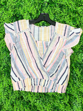 Load image into Gallery viewer, multicolored striped crop top with ruffle sleeve shirt blouse | shop women's clothing clothes apparel gifts accessories online or in store at boerne la te da boutique | a favorite of locals and san antonio visitors too