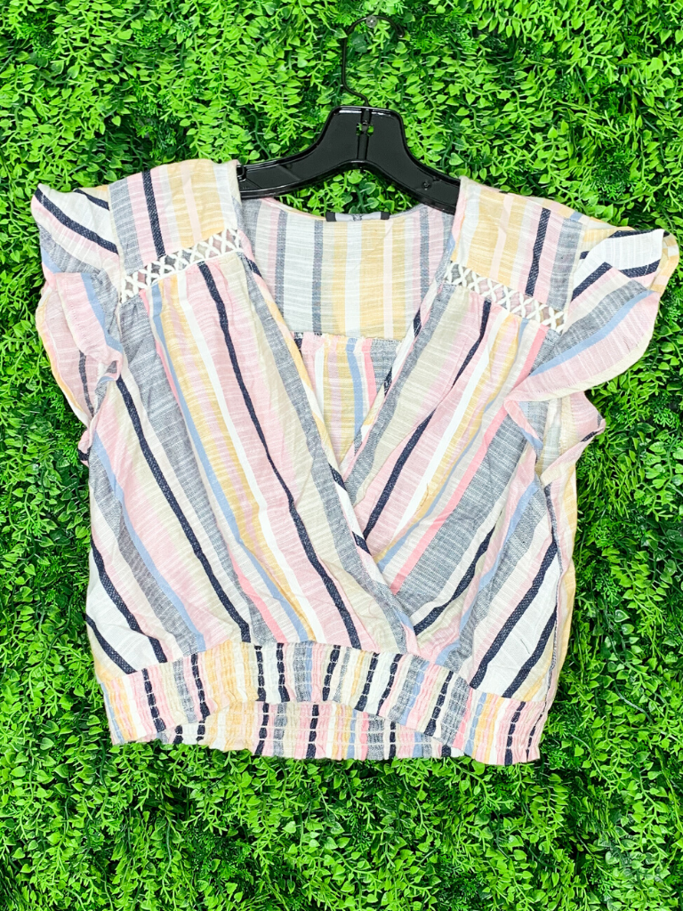 multicolored striped crop top with ruffle sleeve shirt blouse | shop women's clothing clothes apparel gifts accessories online or in store at boerne la te da boutique | a favorite of locals and san antonio visitors too