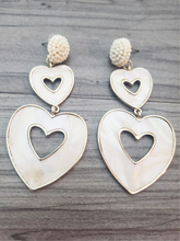 Load image into Gallery viewer, Heart Earrings Mother of Pearl