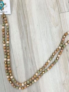 Natural Wood Bead Necklace - 4 Colors!