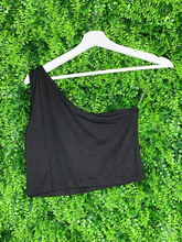 Load image into Gallery viewer, black one shoulder asymmetrical crop top shirt blouse | shop women's clothing clothes apparel gifts accessories online or in store at boerne la te da boutique | a favorite of locals and san antonio visitors too