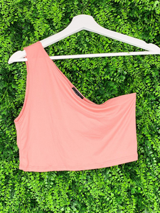 pink coral salmon one shoulder asymmetrical crop top shirt blouse | shop women's clothing clothes apparel gifts accessories online or in store at boerne la te da boutique | a favorite of locals and san antonio visitors too
