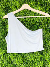 Load image into Gallery viewer, blue gray off white one shoulder asymmetrical crop top shirt blouse | shop women's clothing clothes apparel gifts accessories online or in store at boerne la te da boutique | a favorite of locals and san antonio visitors too
