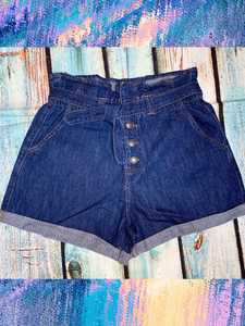 blue denim paper bag paperbag shorts with tie | shop women's clothing clothes apparel gifts accessories online or in store at boerne la te da boutique | a favorite of locals and san antonio visitors too