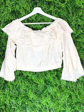 Load image into Gallery viewer, yellow cream beige frayed edge ruffle crop top shirt blouse | shop women's clothing clothes apparel gifts accessories online or in store at boerne la te da boutique | a favorite of locals and san antonio visitors too