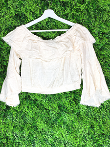 yellow cream beige frayed edge ruffle crop top shirt blouse | shop women's clothing clothes apparel gifts accessories online or in store at boerne la te da boutique | a favorite of locals and san antonio visitors too