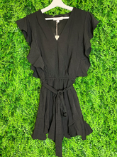 Load image into Gallery viewer, women's flounce romper with ruffle sleeves and tie | shop women's clothing clothes apparel gifts accessories online or in store at boerne la te da boutique | a favorite of locals and san antonio visitors too