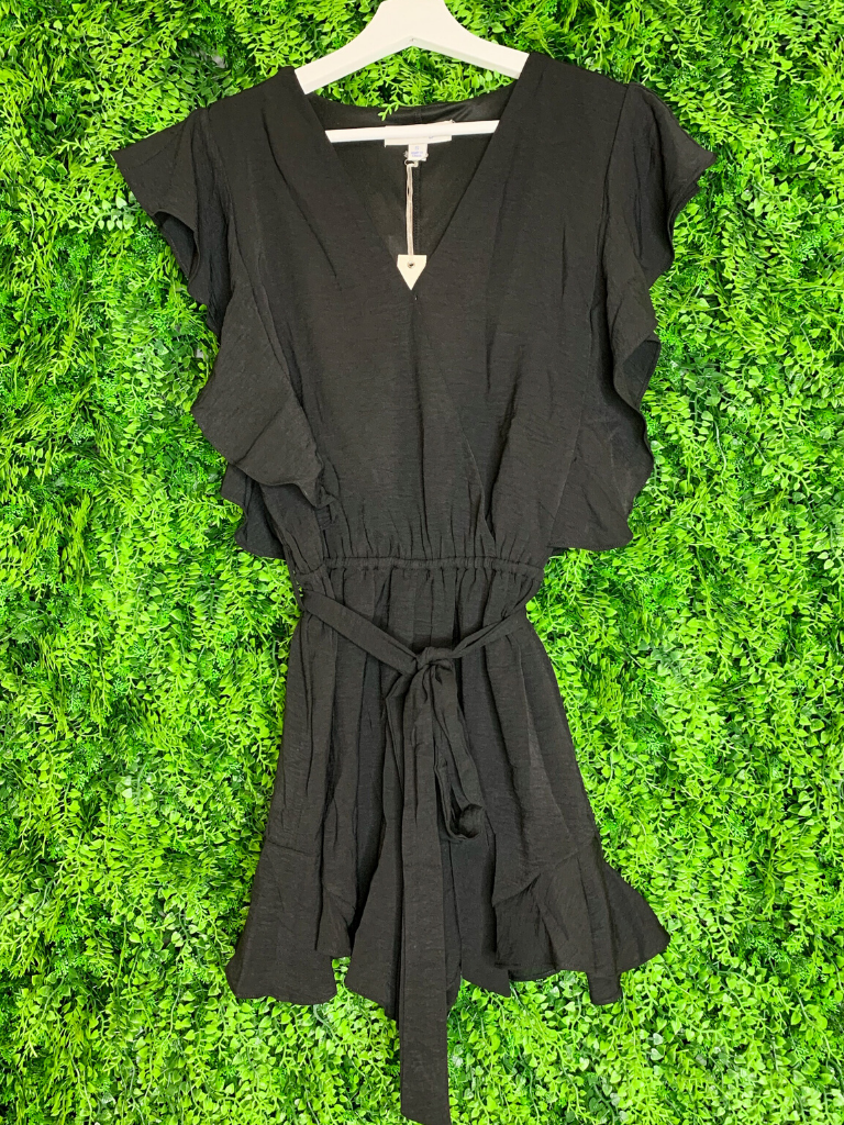 women's flounce romper with ruffle sleeves and tie | shop women's clothing clothes apparel gifts accessories online or in store at boerne la te da boutique | a favorite of locals and san antonio visitors too