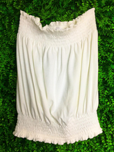 Load image into Gallery viewer, white cream beige ribbed tube top shirt blouse | shop women's clothing clothes apparel gifts accessories online or in store at boerne la te da boutique | a favorite of locals and san antonio visitors too