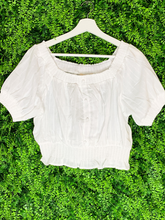 Load image into Gallery viewer, white stripe crop top shirt blouse | shop women's clothing clothes apparel gifts accessories online or in store at boerne la te da boutique | a favorite of locals and san antonio visitors too