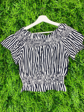 Load image into Gallery viewer, black and white striped crop top shirt blouse | shop women's clothing clothes apparel gifts accessories online or in store at boerne la te da boutique | a favorite of locals and san antonio visitors too
