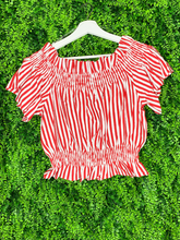 Load image into Gallery viewer, red and white striped crop top shirt blouse | shop women's clothing clothes apparel gifts accessories online or in store at boerne la te da boutique | a favorite of locals and san antonio visitors too