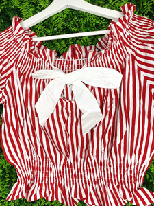red and white striped crop top shirt blouse | shop women's clothing clothes apparel gifts accessories online or in store at boerne la te da boutique | a favorite of locals and san antonio visitors too