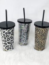 Load image into Gallery viewer, Brown Leopard Glitter Tumbler