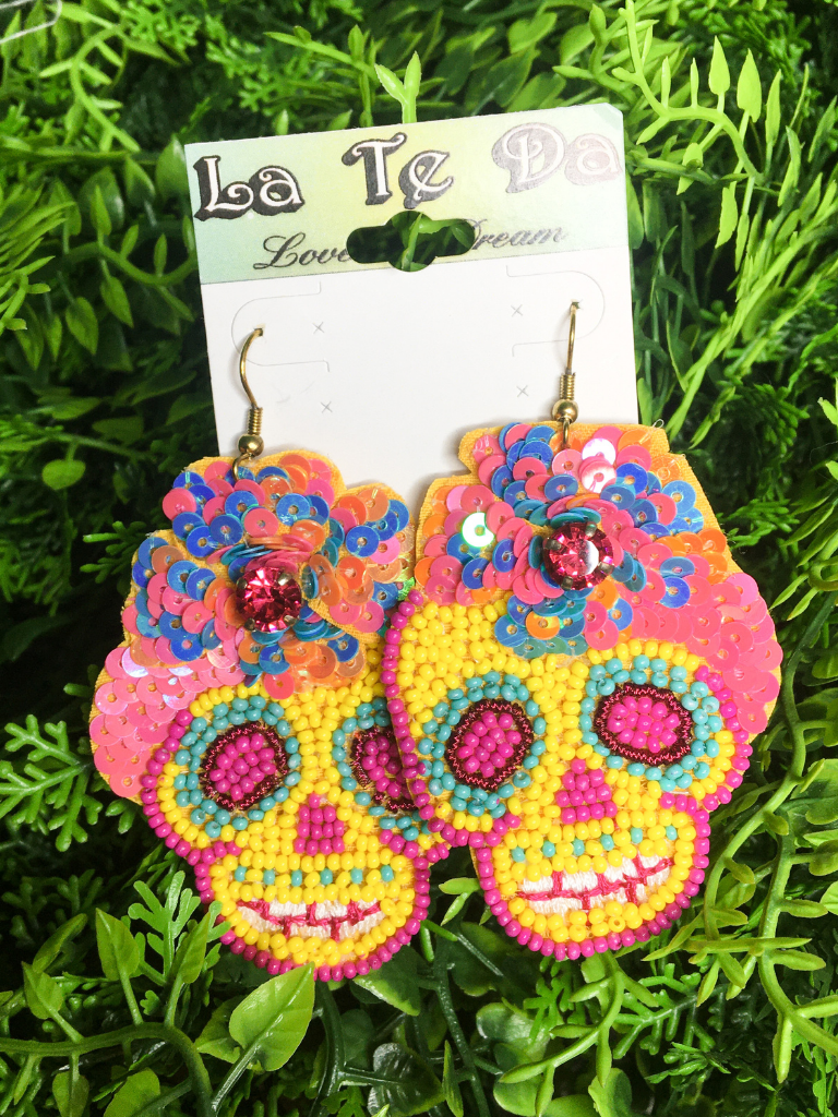 beaded multi-colored sugar skull sequin earrings | fiesta day of the dead | shop women's clothing clothes apparel gifts accessories jewelry online or in store at boerne la te da boutique | a favorite of locals and san antonio visitors too