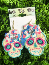Load image into Gallery viewer, beaded multi-colored sugar skull sequin earrings | fiesta day of the dead | shop women's clothing clothes apparel gifts accessories jewelry online or in store at boerne la te da boutique | a favorite of locals and san antonio visitors too