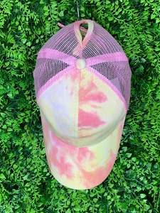yellow pink tie-dye baseball cap hat sun hat | shop women's clothing clothes apparel gifts accessories online or in store at boerne la te da boutique | a favorite of locals and san antonio visitors too