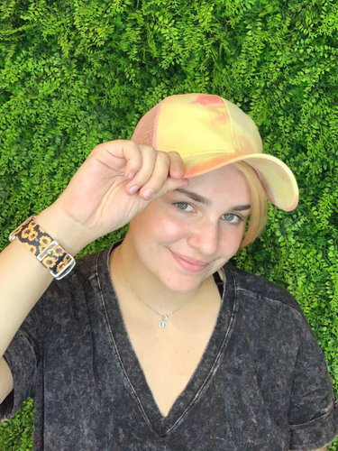 yellow orange tie-dye baseball cap hat sun hat | shop women's clothing clothes apparel gifts accessories online or in store at boerne la te da boutique | a favorite of locals and san antonio visitors too