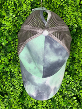 Load image into Gallery viewer, green gray silver tie-dye baseball cap hat sun hat | shop women's clothing clothes apparel gifts accessories online or in store at boerne la te da boutique | a favorite of locals and san antonio visitors too