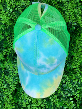 Load image into Gallery viewer, blue green yellow tie-dye baseball cap hat sun hat | shop women's clothing clothes apparel gifts accessories online or in store at boerne la te da boutique | a favorite of locals and san antonio visitors too