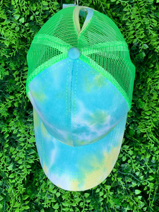 blue green yellow tie-dye baseball cap hat sun hat | shop women's clothing clothes apparel gifts accessories online or in store at boerne la te da boutique | a favorite of locals and san antonio visitors too