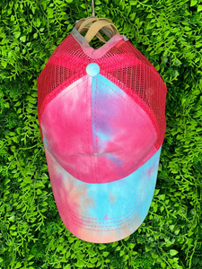 red pink blue tie-dye baseball cap hat sun hat | shop women's clothing clothes apparel gifts accessories online or in store at boerne la te da boutique | a favorite of locals and san antonio visitors too