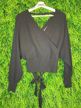 Load image into Gallery viewer, black wrap cropped sweater with open back | top shirt blouse | fall and winter fashion | shop women's clothing clothes apparel gifts accessories jewelry online or in store at boerne la te da boutique | a favorite of locals and san antonio visitors too