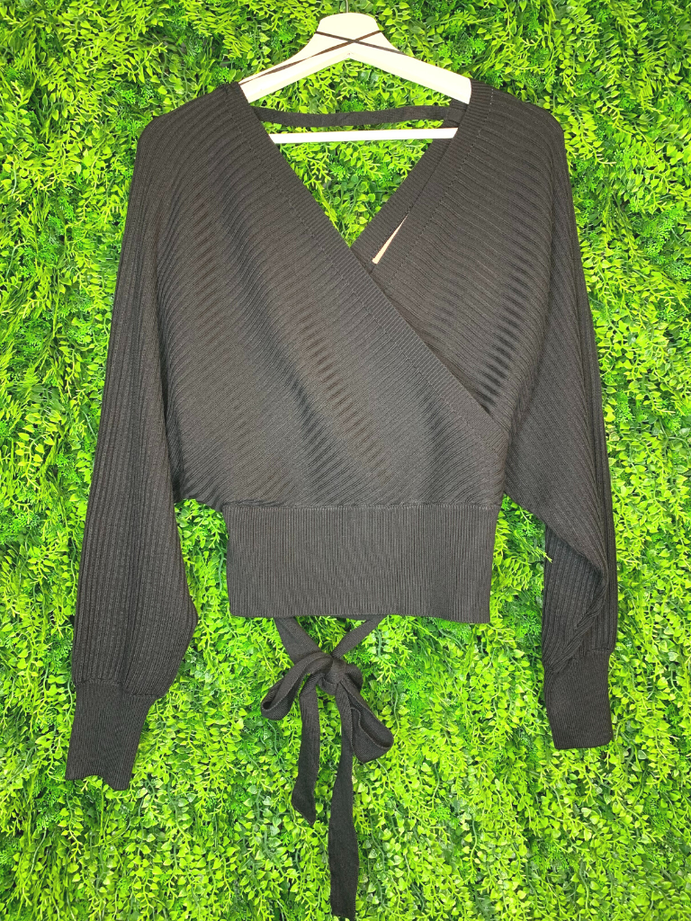 black wrap cropped sweater with open back | top shirt blouse | fall and winter fashion | shop women's clothing clothes apparel gifts accessories jewelry online or in store at boerne la te da boutique | a favorite of locals and san antonio visitors too