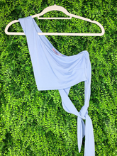 Load image into Gallery viewer, blue crop top shirt with tie one shoulder summer outfit | shop women's clothing clothes apparel gifts accessories online or in store at boerne la te da boutique | a favorite of locals and san antonio visitors too