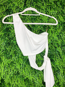 ivory crop top shirt with tie one shoulder summer outfit | shop women's clothing clothes apparel gifts accessories online or in store at boerne la te da boutique | a favorite of locals and san antonio visitors too