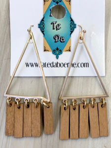 Wood & Metal Triangle Earrings - 3 Colors!