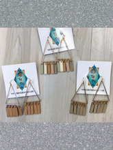Load image into Gallery viewer, Wood & Metal Triangle Earrings - 3 Colors!