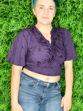 Load image into Gallery viewer, violet purple embroidered crop top flowy sleeves | shop women's clothing clothes apparel gifts accessories online or in store at boerne la te da boutique | a favorite of locals and san antonio visitors too