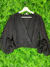 Load image into Gallery viewer, black waterfall sleeve bell sleeve crop top shirt blouse | shop women's clothing clothes apparel gifts accessories online or in store at boerne la te da boutique | a favorite of locals and san antonio visitors too