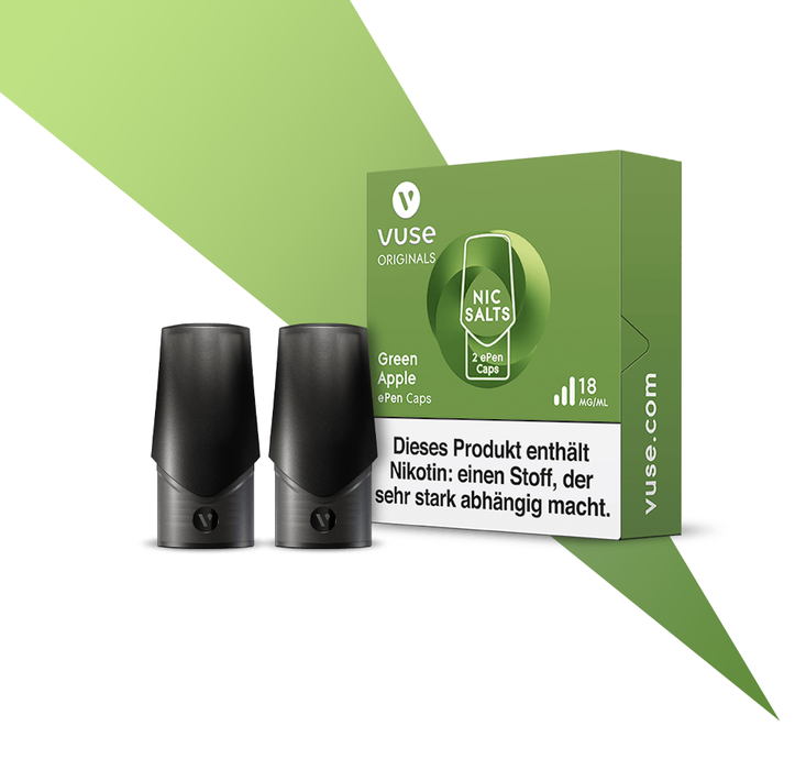 Vype ePen3 Caps Green Apple = Vuse ePen Caps Green Apple Nic Salts