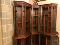 Antique English Mahogany Corner Bookcase/Cabinet by Howard and Sons