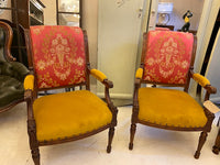 Antique pair 1920's French carved walnut upholstered armchair