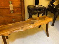 Vintage low yew wood side table