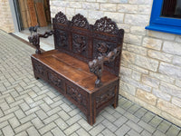 Antique Oriental Carved Hall Bench