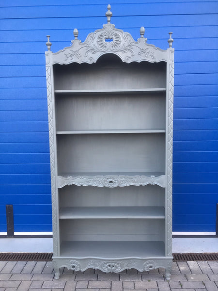 Contemporary grey five shelf open bookcase