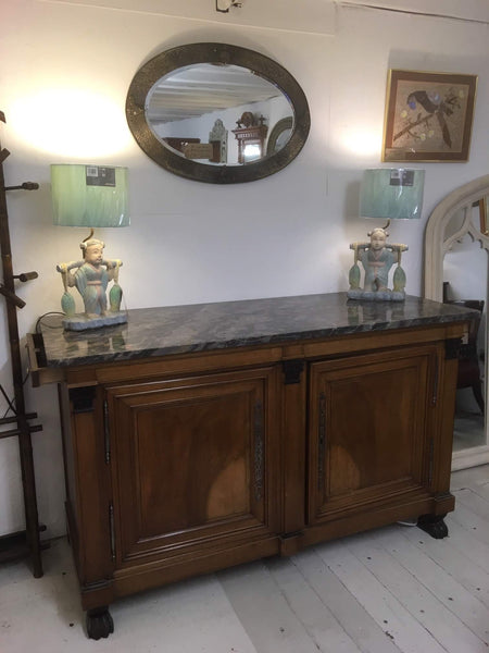 Antique French marble top two door empire chiffonier / sideboard
