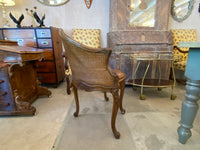 Antique French walnut caned chair