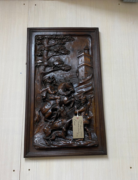 Antique French Carved Panel with Hunting Scene