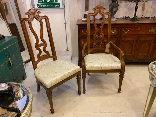 Vintage decorative oak dining chairs