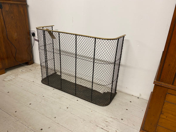 Antique brass, iron and wirework fire guard