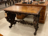 Antique carved walnut centre table