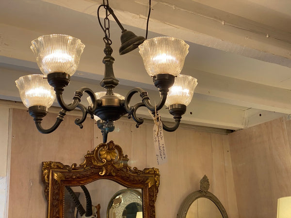 A pair of Mid Century Metal/bronze chandeliers