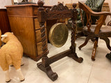 Antique carved oak gong