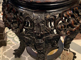 Antique Chinese carved rosewood and marble stand